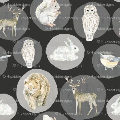 """4"""" Winter Woodland Animals // Chalk Black"""