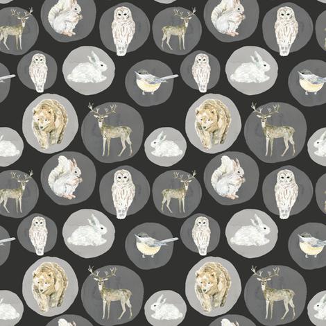 "4"" Winter Woodland Animals // Chalk Black fabric by hipkiddesigns on Spoonflower - custom fabric"