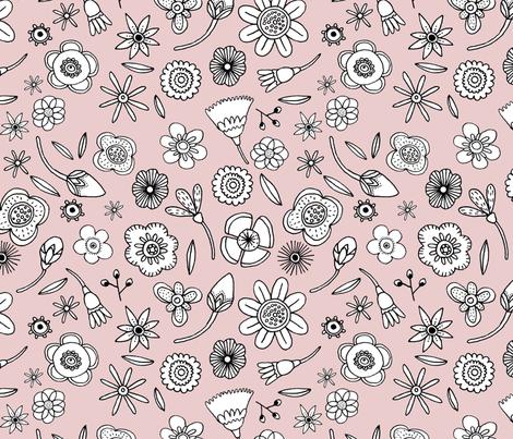Black and White Flowers fabric by giselledekel on Spoonflower - custom fabric