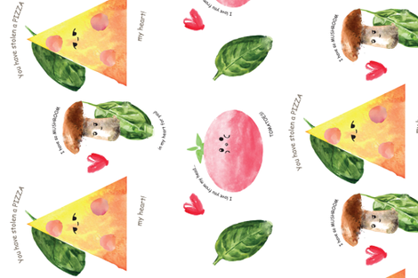 a PIZZA my heart  fabric by elise_marie_textiles on Spoonflower - custom fabric
