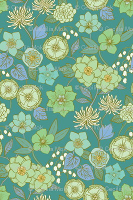 Botanical Blooms {Mint/Turquoise}