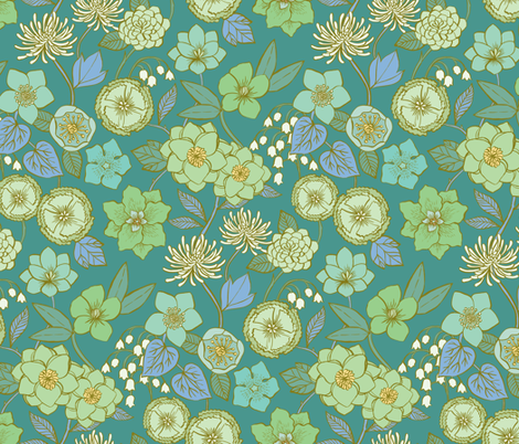 Botanical Blooms {Mint/Turquoise} fabric by ceciliamok on Spoonflower - custom fabric