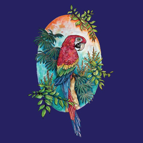 Macaw on Blue Large Print