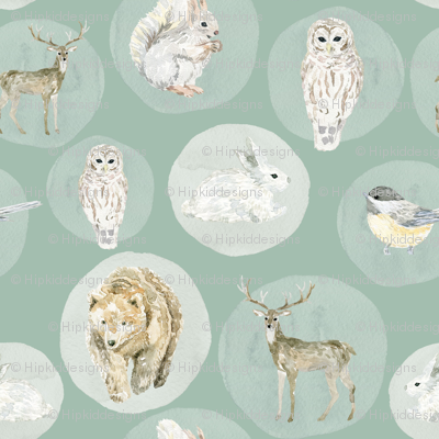 "12"" Winter Woodland Animals // Summer Green"