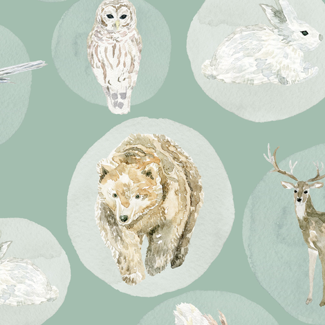 "12"" Winter Woodland Animals // Summer Green fabric by hipkiddesigns on Spoonflower - custom fabric"
