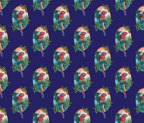 Macaw on Blue fabric by artfulfreddy on Spoonflower - custom fabric
