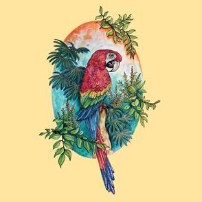 Macaw on Creme Large Print