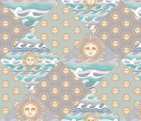 sun and waves diamonds fabric by scrummy on Spoonflower - custom fabric