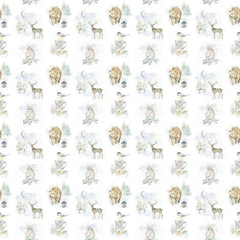 "2"" Woodland Winter Dream // White fabric by hipkiddesigns on Spoonflower - custom fabric"