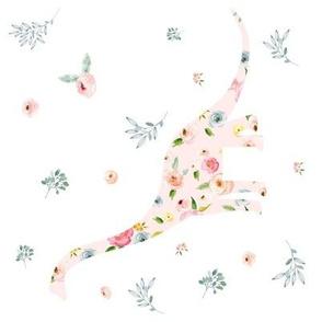 """8"""" Floral Dino Roses White 90 degrees"""