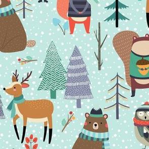 XL Winter Forest Animals Snow - Bears Deer Fox Owl Kids Woodland Design (birds egg) GingerLous