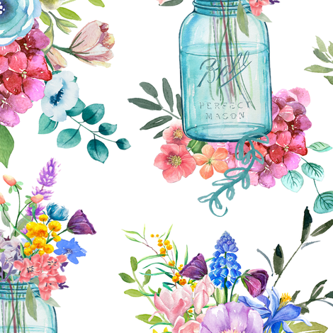 Watercolor Mason Jar Bouquet  fabric by theartwerks on Spoonflower - custom fabric