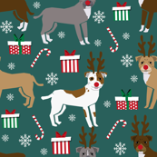 pitbull reindeer fabric - snowflake, candy cane, holiday, christmas present dogs - deep green