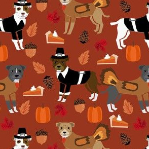pitbull thanksgiving fabric - cute dog, dogs, turkey, holiday, fall autumn, dogs - rust
