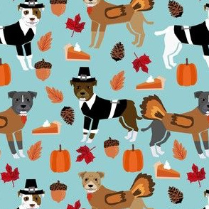 pitbull thanksgiving fabric - cute dog, dogs, turkey, holiday, fall autumn, dogs - blue
