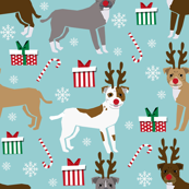 pitbull reindeer fabric - snowflake, candy cane, holiday, christmas present dogs - blue
