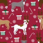 pitbull reindeer fabric - snowflake, candy cane, holiday, christmas present dogs - burgundy