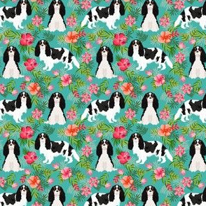 SMALL - cavalier king charles spaniel dog fabric - tricolored hawaiian tropical florals - turquoise