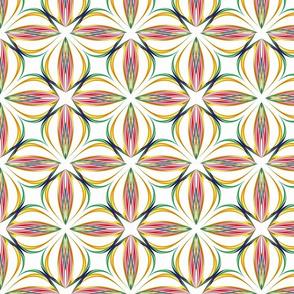 Spirograph Floral Bright Outline Tile