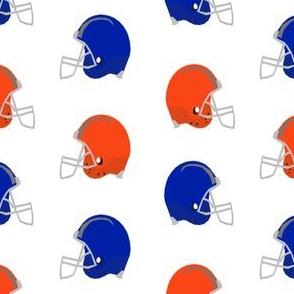 helmets - blue and orange football helmets, sport, sports, american football