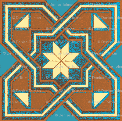 1960 Star Inverted Tile Teal