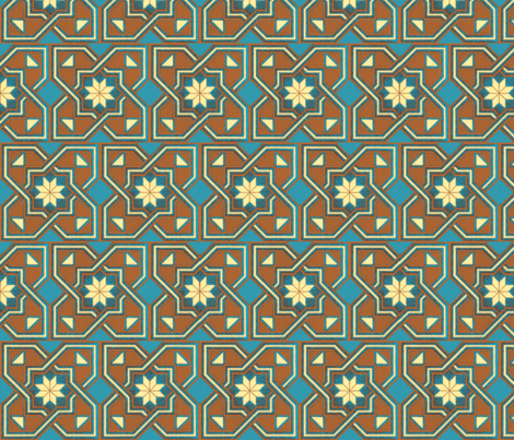1960 Star Inverted Tile Teal fabric by fabric_is_my_name on Spoonflower - custom fabric
