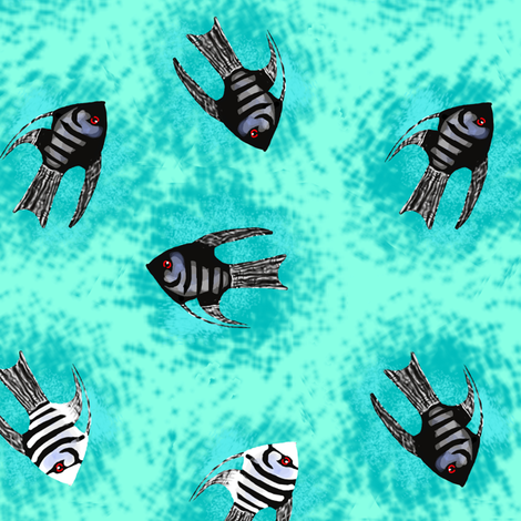 Angelfish on Turquoise fabric by eclectic_house on Spoonflower - custom fabric