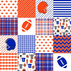florida football quilt - sport, sports, blue and orange, gator, alligator alley, cheater quilt