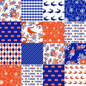 florida quilt floral cheater quilt - patchwork, wholecloth quilt design - blue and orange