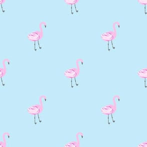 flamingo fabric // simple cute pink flamingo, baby, nursery, cute, summer preppy flamingos - blue