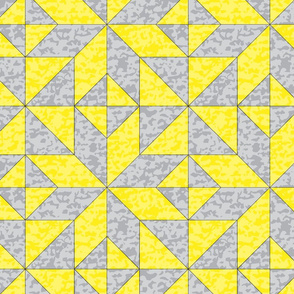 Geometric Cheater Quilt Whole Cloth Le Moyne Star Yellow Gray Grey _ Miss Chiff Designs