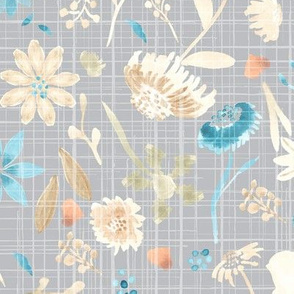 Fall Watercolor Floral on Gray Distress Texture _ Miss Chiff Designs