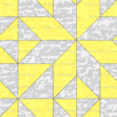 "Geometric Cheater Quilt Whole Cloth 10"" Le Moyne Star Lemon Yellow Gray Grey  Texture  _ Miss Chiff Designs"