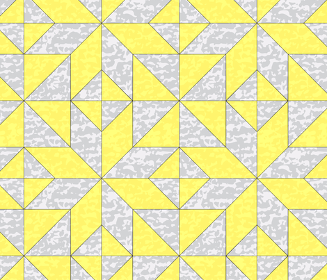 """Geometric Cheater Quilt Whole Cloth 10"""" Le Moyne Star Lemon Yellow Gray Grey  Texture  _ Miss Chiff Designs  fabric by misschiffdesigns on Spoonflower - custom fabric"""