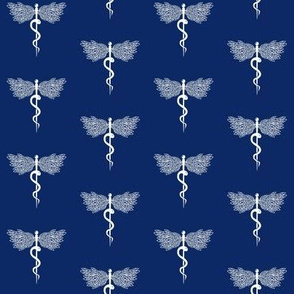Caduceus Medical Symbol -one snake wings staff Dark Navy Blue