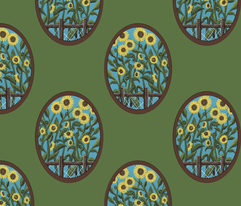 sunflower ovals green fabric by leroyj on Spoonflower - custom fabric