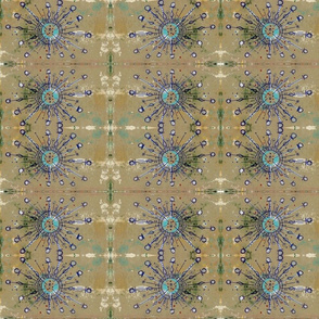 Cerulean Taupe Ankh Ray Grid