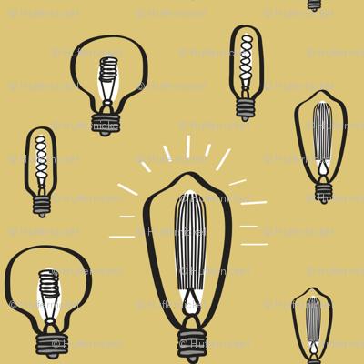 Hand-Drawn Edison Bulbs on Marigold