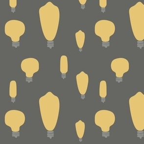 Hand-Drawn Bulbs on Gray BG