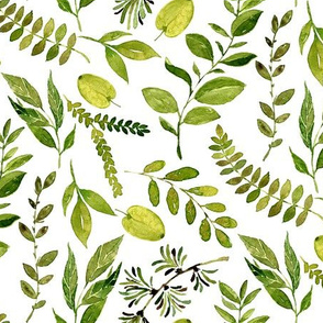 Bright Green Watercolor Leaves