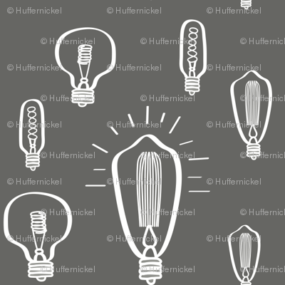 Hand-Drawn Bulbs in White and Gray