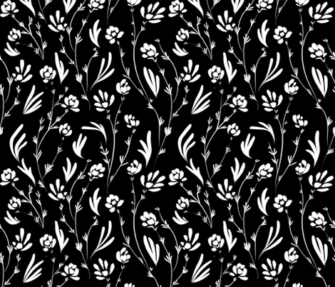 Wild Cosmos, White on Black fabric by karina_love on Spoonflower - custom fabric