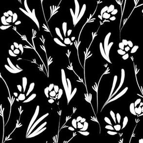 Wild Cosmos, White on Black