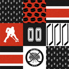 Hockey//Keep Your stick on the ice//Red/Black//Calgary. - Wholecloth Cheater Quilt