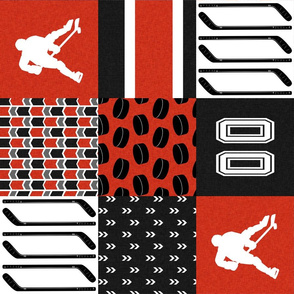 Hockey//Keep your stick on the ice//Black/Red/Calgary - Wholecloth Cheater Quilt - Rotated