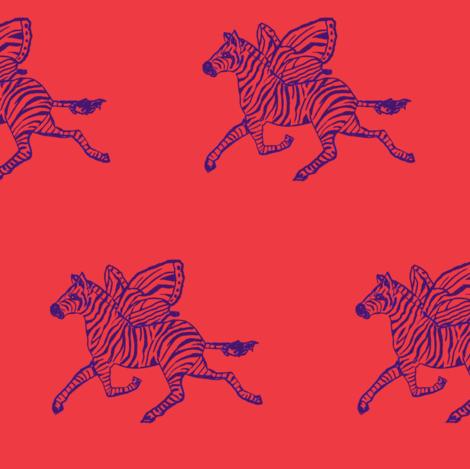 Zebra fly in purple on red background fabric by lazella_rosetta on Spoonflower - custom fabric
