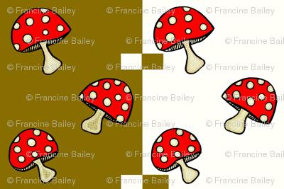 Fly Agaric fungus / Red polka-dot mushroom -gold squares
