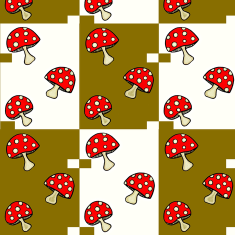 Fly Agaric fungus / Red polka-dot mushroom -gold squares  fabric by franbail on Spoonflower - custom fabric