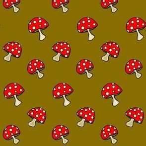 Fly Agaric fungus / Red polka-dot mushroom -golden green