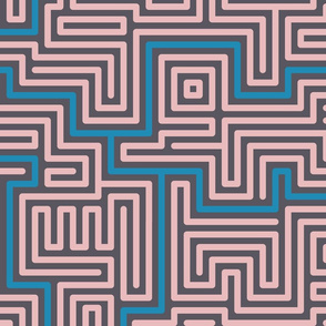 Meandering rounded lines pale pink, blue